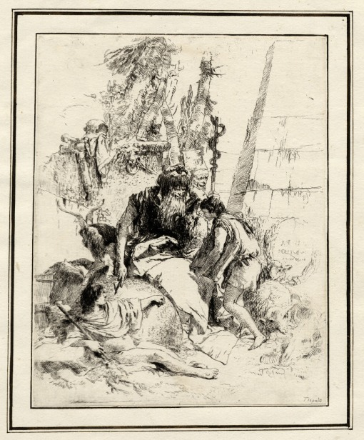 Giovanni Battista Tiepolo, Plate 14: two magicians with two children, Scherzi di Fantasia (1750-1760) etching, 224 x 177mm. Museum Number 1919,1220.30 Click here to view this object on the British Museum Collection Online. ©The Trustees of the British Museum