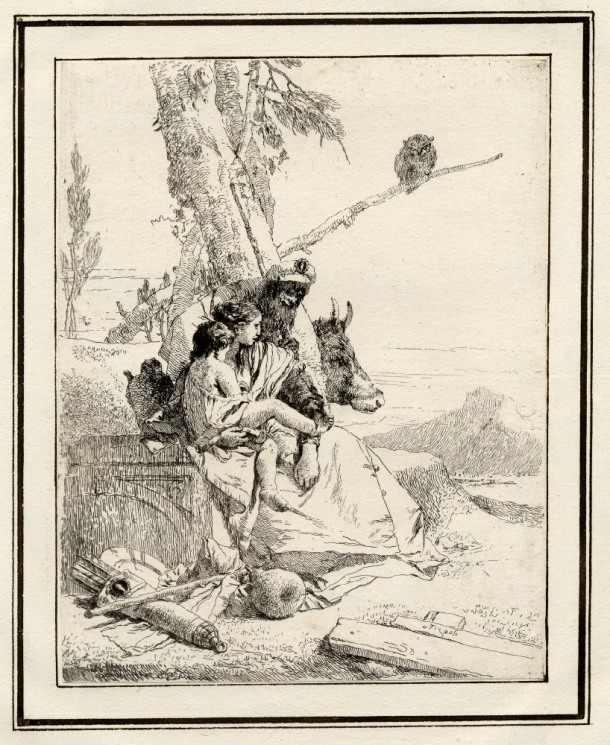 Giovanni Battista Tiepolo, Plate 15: an oriental man with his wife and child, Scherzi di Fantasia (1750-1760) etching, 224 x 175mm. Museum Number 1919,1220.31 Click here to view this object on the British Museum Collection Online. ©The Trustees of the British Museum