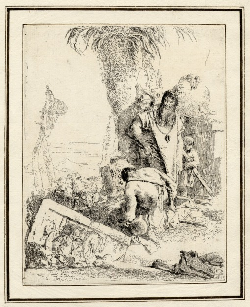 Giovanni Battista Tiepolo, Plate 16: a seated beggar seen from behind watched by orientals, Scherzi di Fantasia (1750-1760) etching, 225 x 175mm. Museum Number 1919,1220.32 Click here to view this object on the British Museum Collection Online. ©The Trustees of the British Museum
