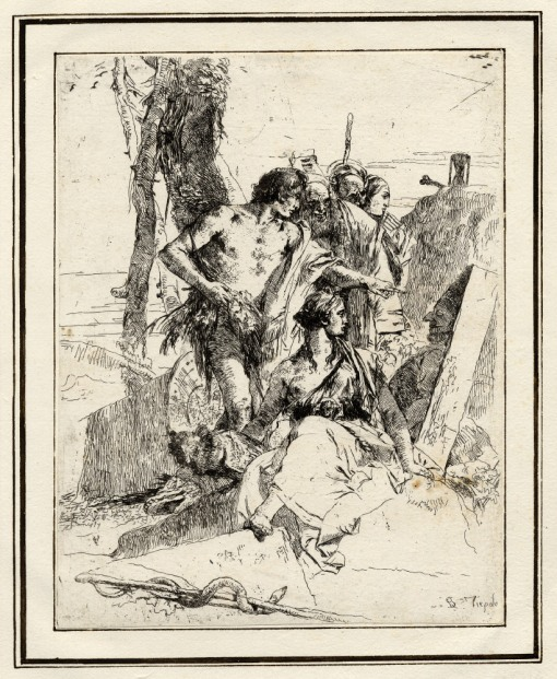 Giovanni Battista Tiepolo, Plate 17: the discovery of the tomb of Polichinelle, Scherzi di Fantasia (1750-1760) etching, 235 x 184mm. Museum Number 1919,1220.33 Click here to view this object on the British Museum Collection Online. ©The Trustees of the British Museum