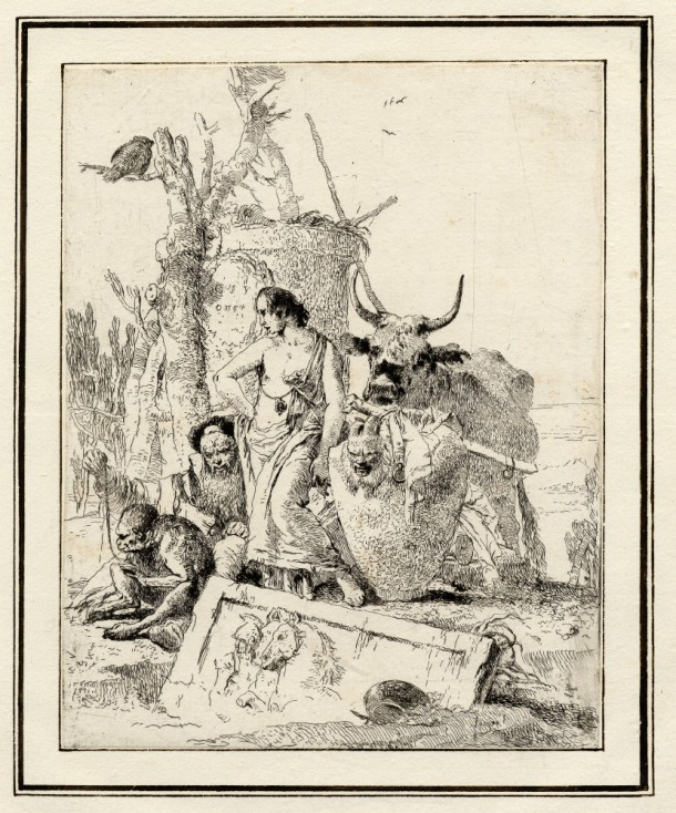 Giovanni Battista Tiepolo, Plate 18: an old man holding a monkey on a lead, Scherzi di Fantasia (1750-1760) etching, 225 x 178mm. Museum Number 1919,1220.34 Click here to view this object on the British Museum Collection Online. ©The Trustees of the British Museum