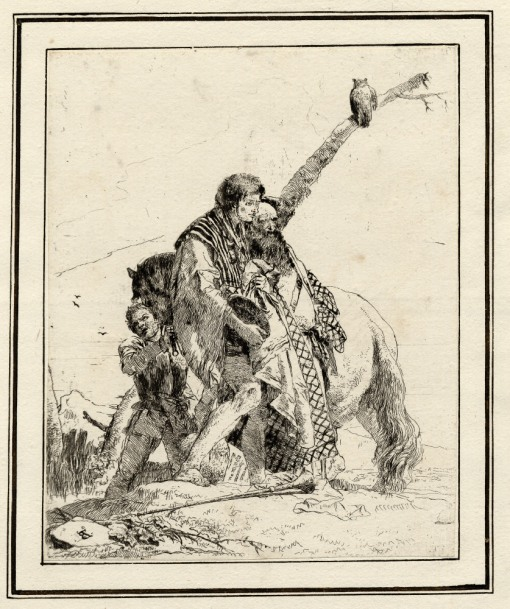 Giovanni Battista Tiepolo, Plate 19: three standing men in front of a horse, Scherzi di Fantasia (1750-1760) etching, 220 x 179mm. Museum Number 1919,1220.35 Click here to view this object on the British Museum Collection Online. ©The Trustees of the British Museum