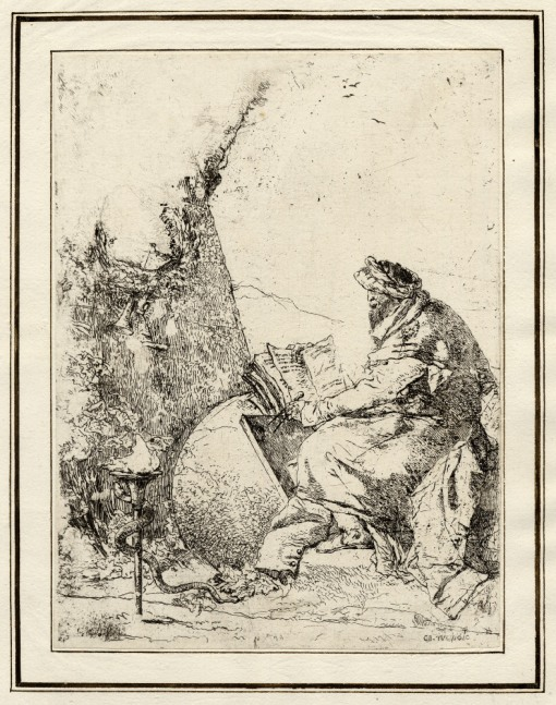 Giovanni Battista Tiepolo, Plate 20: a seated philosopher, Scherzi di Fantasia (1750-1760) etching, 228 x 172mm. Museum Number 1919,1220.36 Click here to view this object on the British Museum Collection Online. ©The Trustees of the British Museum