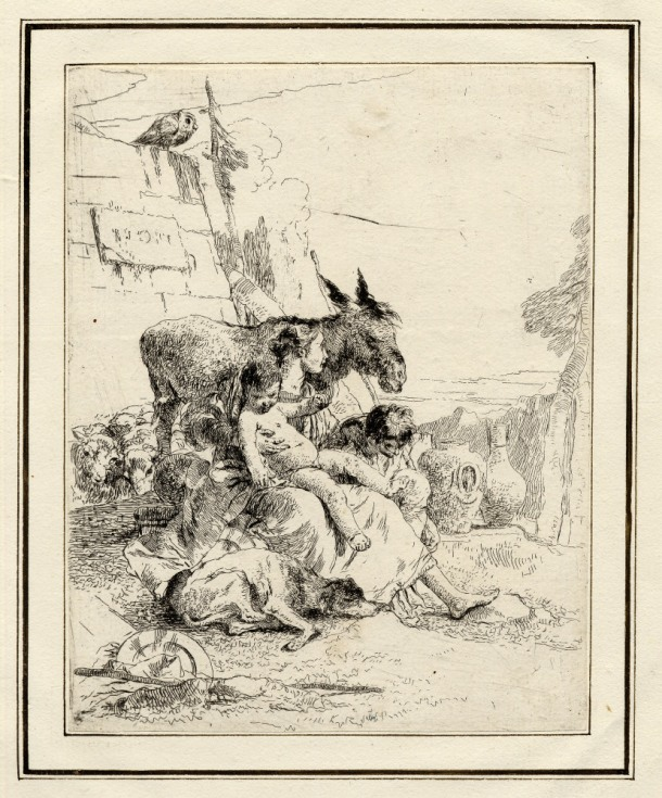 Giovanni Battista Tiepolo, Plate 21: a mother with two children seated in front of a donkey, Scherzi di Fantasia (1750-1760) etching, 227 x 176mm. Museum Number 1919,1220.38 Click here to view this object on the British Museum Collection Online. ©The Trustees of the British Museum
