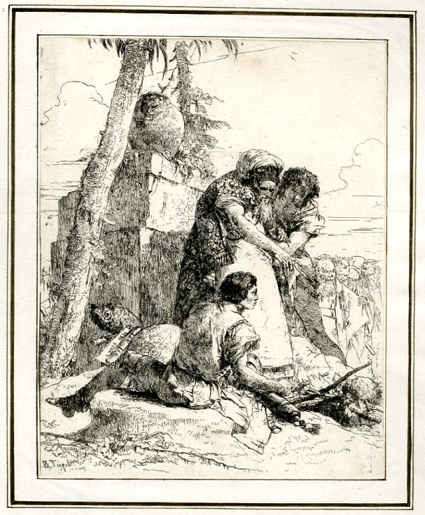 Giovanni Battista Tiepolo, Plate 4:  the head of a man on a wood fire, with spectators gathered around, Scherzi di Fantasia (1750-1760) etching, 226 x 178mm. Museum Number 1919,1220.18. Click here to view this object on the British Museum Collection Online. © The Trustees of the British Museum
