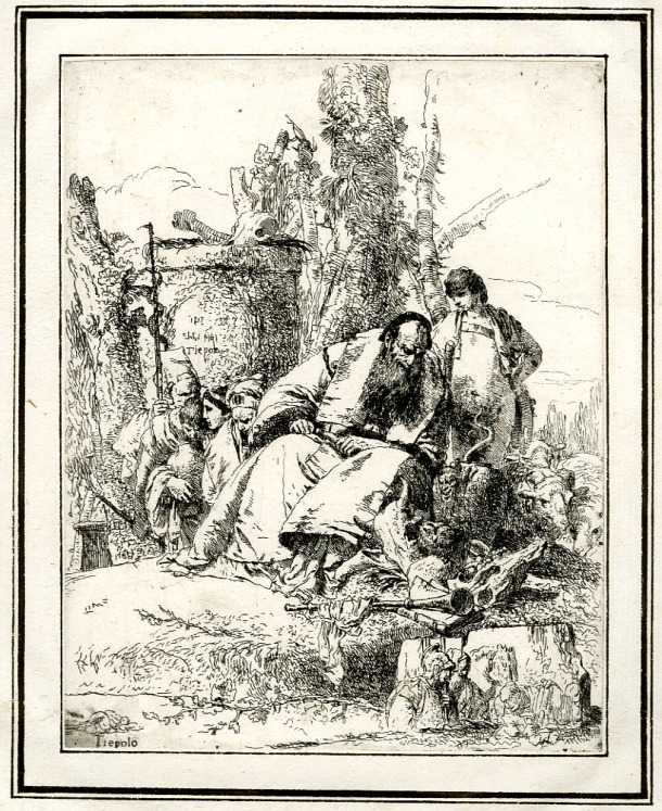 Giovanni Battista Tiepolo, Plate 5:  a seated magician looking at a pile of skulls, Scherzi di Fantasia (1750-1760) etching, 225 x 178mm. Museum Number 1919,1220.19. Click here to view this object on the British Museum Collection Online. © The Trustees of the British Museum