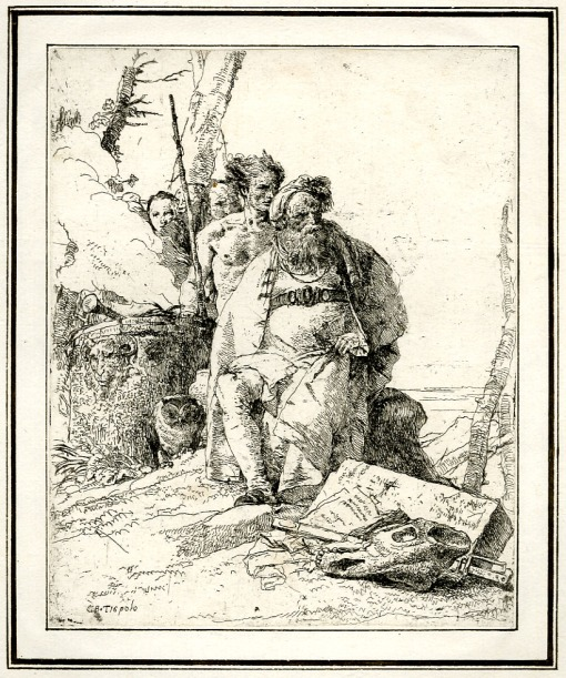 Giovanni Battista Tiepolo, Plate 6:  a seated magician with four standing figures, Scherzi di Fantasia (1750-1760) etching, 223 x 180mm. Museum Number 1919,1220.20. Click here to view this object on the British Museum Collection Online. © The Trustees of the British Museum