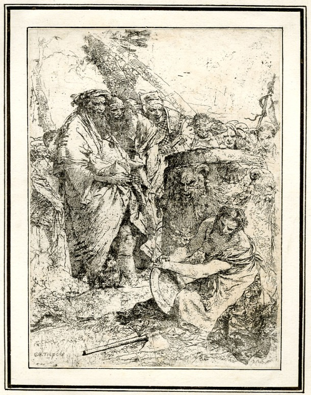 Giovanni Battista Tiepolo, Plate 8:  a kneeling woman holding a large dish, watched by numerous figures, Scherzi di Fantasia (1750-1760) etching, 230 x 171mm. Museum Number 1919,1220.23 Click here to view this object on the British Museum Collection Online. ©The Trustees of the British Museum