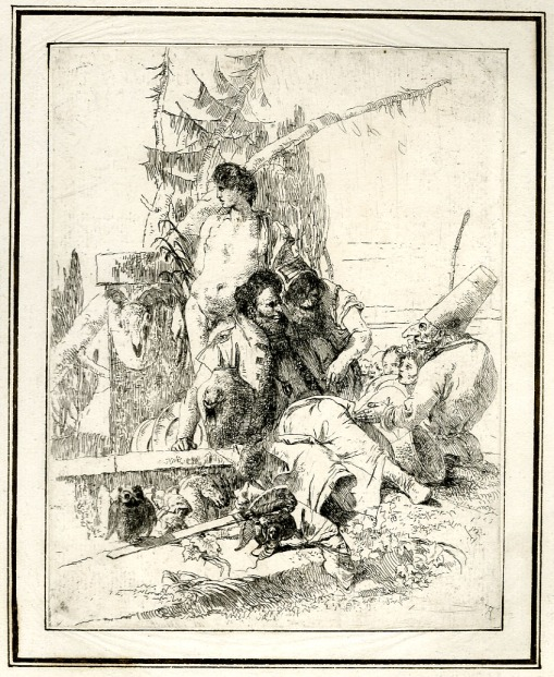 Giovanni Battista Tiepolo, Plate 9:  Polichinelle speaking to two magicians, Scherzi di Fantasia (1750-1760) etching, 235 x 185mm. Museum Number 1919,1220.24 Click here to view this object on the British Museum Collection Online. ©The Trustees of the British Museum