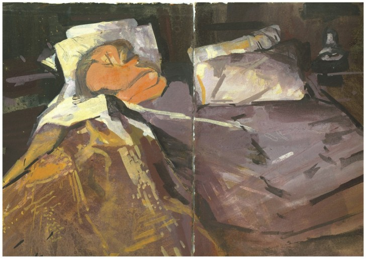 Dagmar Cyrulla, Memory of Passion I 2014, gouache on paper, diptych, 22 x 31cm