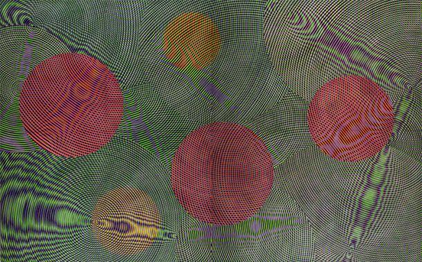 John Aslanidis, Sonic Network no. 14, 2014, oil and acrylic on canvas, 300 x 488 cm