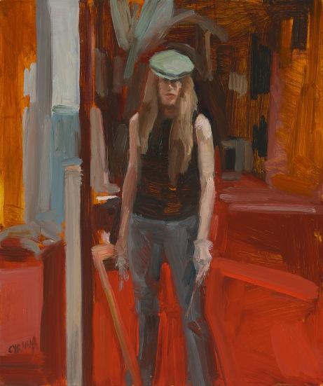 Dagmar Cyrulla Studio Self Portrait, 2014, oil on board, 30 x 25 cm