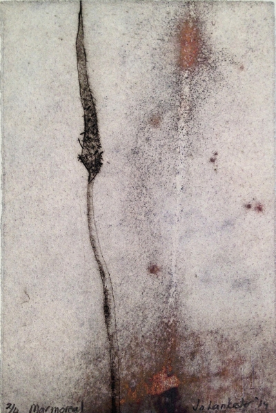 Jo Lankester, Marmoreal, 2014, drypoint and print release, 15 x 10 cm. Press North, Townsville.
