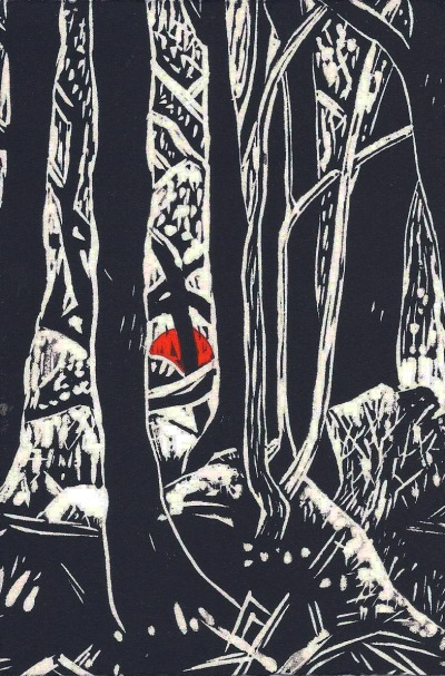 Liz Norris, Gold Diggings Wombat Forest, 2014, linocut, 15 x 10cm. Firestation Print Studio, Melbourne.