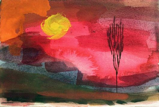 John Sheehan, Black tree, setting sun, 2011, watercolour and gouache 19 x 28cm