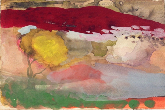 John Sheehan, By the red mountain, 2011, watercolour and gouache, 19 x 28cm