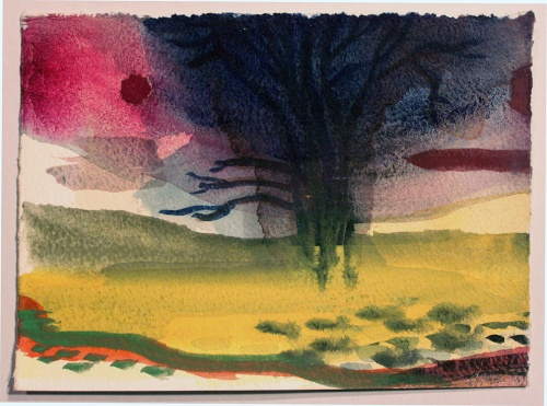 John Sheehan, Dark tree, 2011, watercolour, 14 x 19cm