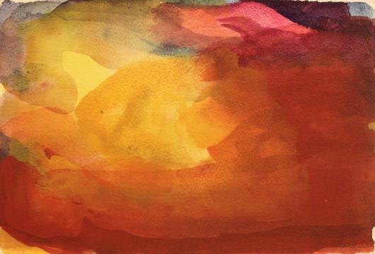 John Sheehan, Gentle valley light (remembering New Zealand), 2013, watercolour, 19 x 28 cm