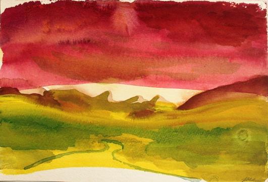 John Sheehan, Golden light (Remembering New Zealand), 2013, watercolour, 19 x 28cm