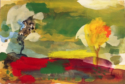 John Sheehan, In conversation, two trees, 2011, watercolour and gouache, 19 x 28cm