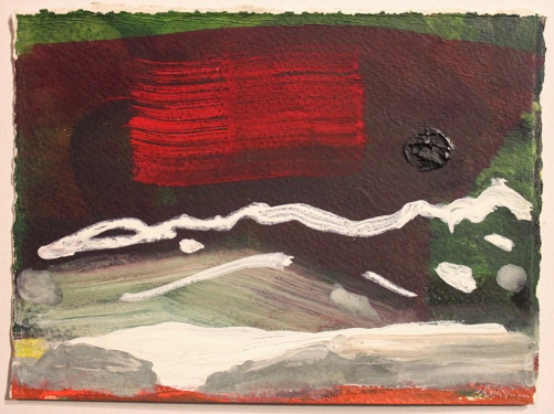 John Sheehan, Line of hills and dark moon, 2014, mixed media, 14 x 19cm (Places from a memory series)