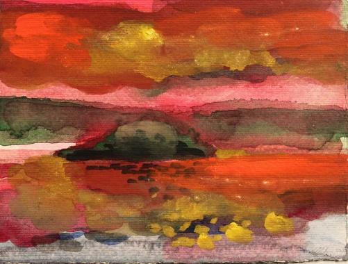John Sheehan, Mountain lake III, 2011, watercolour, 15 x 20cm (Thailand 2010/11 series)