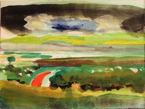 John Sheehan, Mountain road, 2011, watercolour, 15 x 20cm (Thailand 2010/11 series)