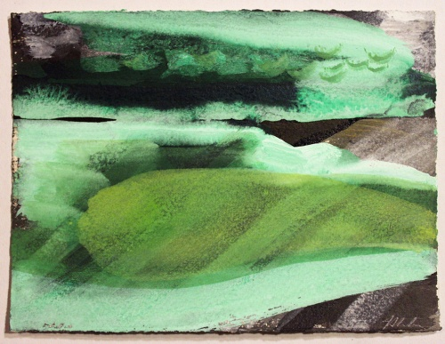 John Sheehan, Night inlet, 2014, mixed media, 14 x 19cm (Places from a memory series)