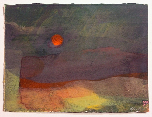 John Sheehan, Setting sun, 2014, mixed media, 14 x 19cm (Places from a memory series)