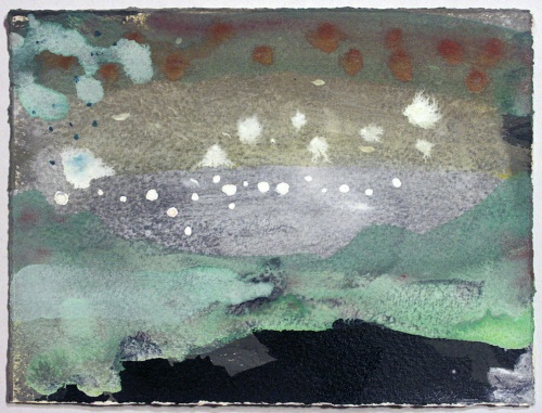 John Sheehan, Stars above a midnight lake, 2014, mixed media, 14 x 19cm (Places from a memory series)