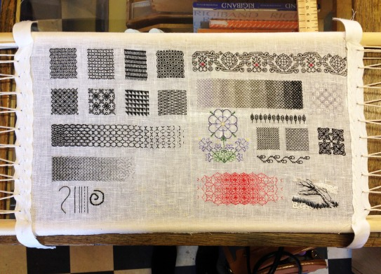 A sample of Blackwork stitching by Holly Coleman at Stag & Bow