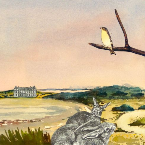Colin Palethorpe, Coorong, 2015, watercolour and collage on panel, 30 x 30 cm