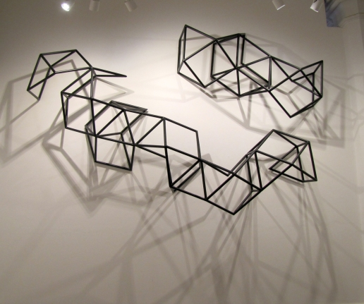 Dion Horstmans, Elektromont Major MK I, 2015, powdercoated steel, 280 x 158 x 58 cm (bottom); Elektromont Major MK II, 2015, powdercoated steel, 150 x 100 x 50 cm (top)