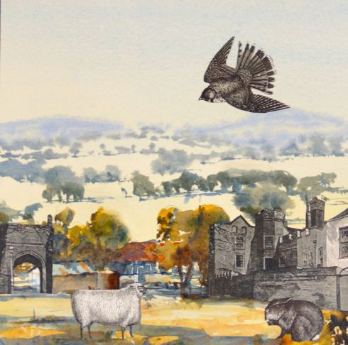 Colin Palethorpe, Gundagai, 2015, watercolour and collage on panel, 30 x 30 cm