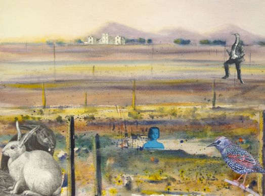 Colin Palethorpe, You Yangs, 2015, watercolour and collage on panel, 41 x 61 cm