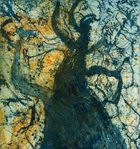 Bronwyn Rees, Blue Wishing Tree, 2014 3 plate colour etching 50 x 50cm