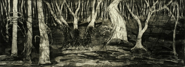 Bronwyn Rees, Into the Woods, 2013, etching, 12 x 34 cm