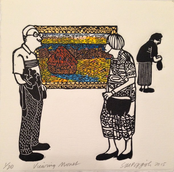 Sue Poggioli, Viewing Monet, 2015, hand coloured linocut, 15 x 15 cm