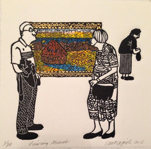 Sue Poggioli, Viewing Monet, 2015, hand coloured linocut, 15 x 15 cm