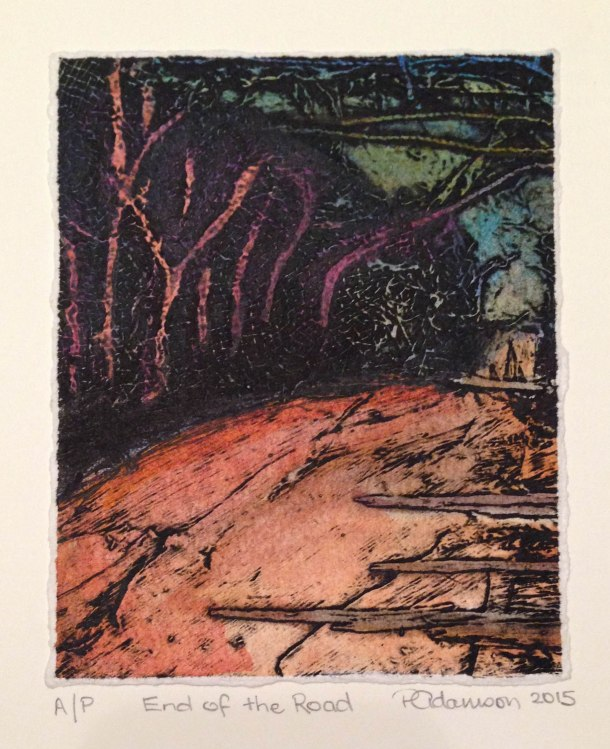 Peta Adamson, End of the Road, 2015, collograph, 15 x 15 cm