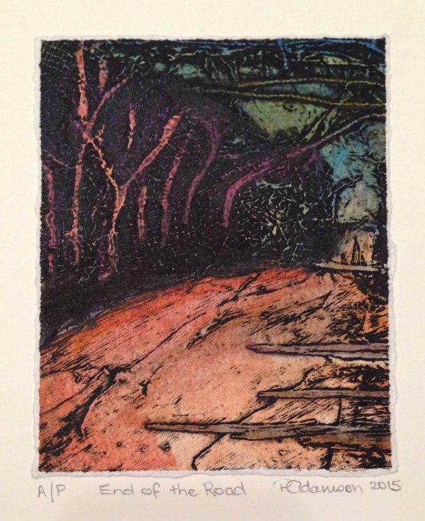 Peta Adamson, End of the Road, 2015, collograph, 15 x 15 cm