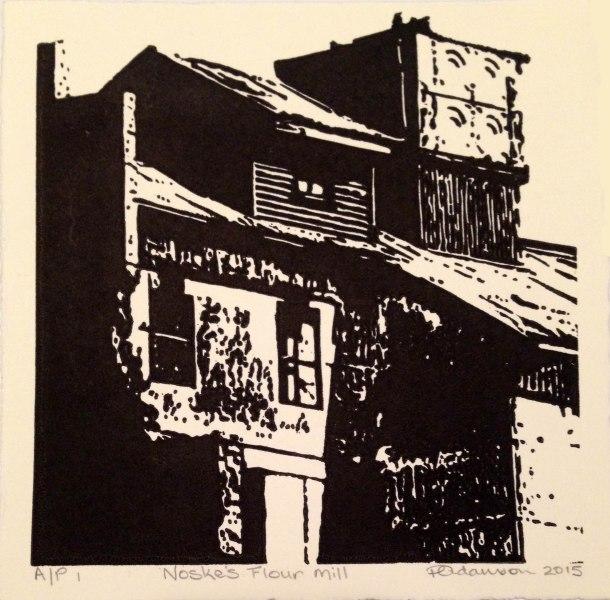 Peta Adamson, Noske's flour mill, 2015, linocut, 15 x 15 cm