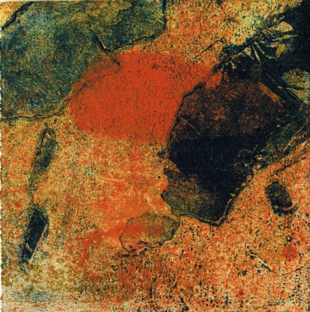 Rhonda Stevens, Fragile Edges, 2015, three plate collograph, 15 x 15 cm