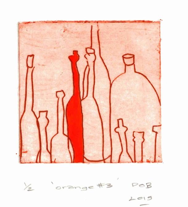 Diana Orinda Burns, Orange #3, 2015, etching, 15 x 15 cm