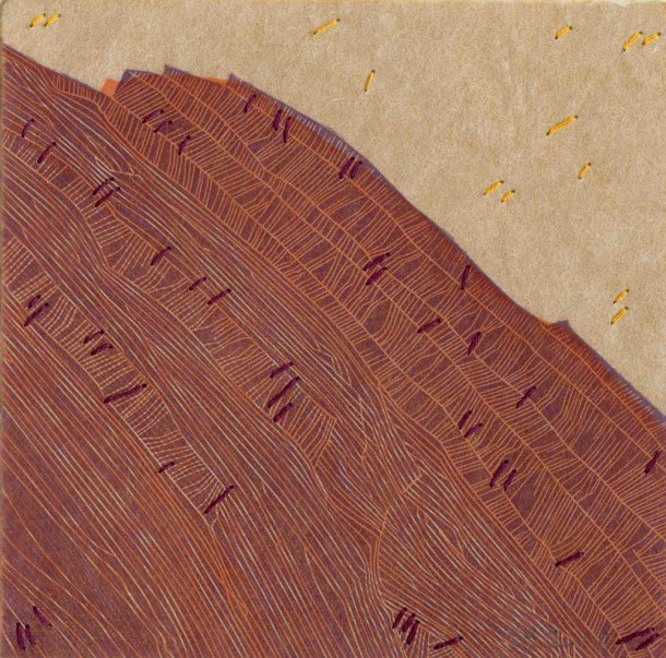 Elizabeth Banfield, Like an Echo, 2015, linocut, kozo tissue paper, thread, 15 x 15 cm