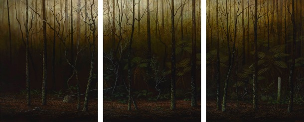 Adam Nudelman, The darkness only lasts a night-time, 2015, oil on linen, 152.5 x 366 cm