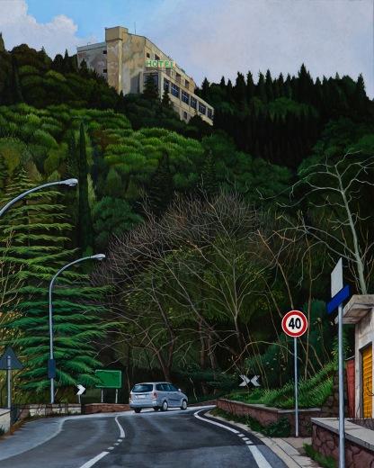 Eolo Paul Bottaro, Hotel La Pineta, Chiaramonte, 2016, egg tempera and oil on linen.