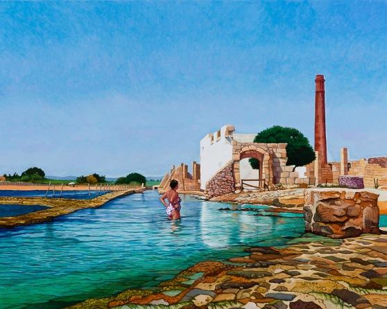 Eolo Paul Bottaro, La Tonnara, Vendicari, 2016, egg tempera and oil on linen, 119 x 149 cm