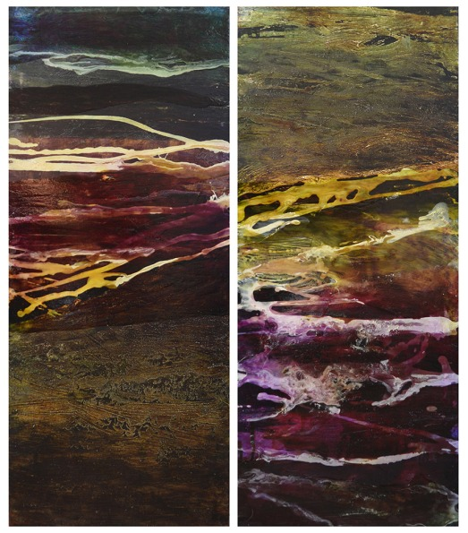 Caroline Rannersberger, Algal Bloom I & II 2016, ink & acrylic on linen, 97cm x 41cm each panel
