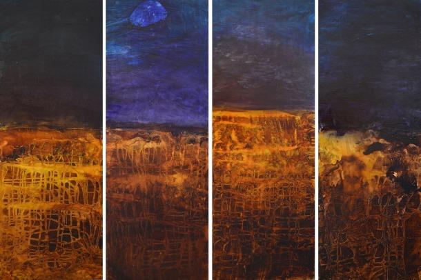 Caroline Rannersberger, Drift Net Landscape I - IV 2016, ink and acrylic on linen, 112cm x 41cm